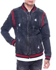 Denim Jackets - Varsity Denim Jacket - Black Rinse-2324841