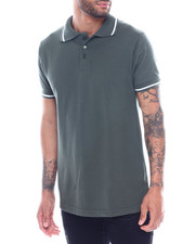Men - Mens Yarn Dye Contrast Stripe Collar And Rib Polo-2325482