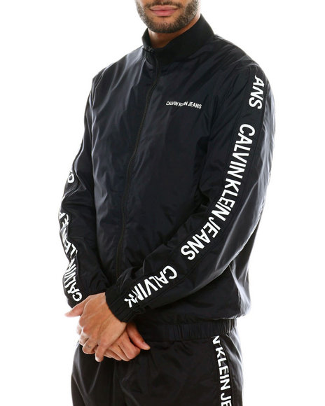 Calvin Klein - INSTITUTIONAL STRIP NYLON LOGO TRACK JACKET