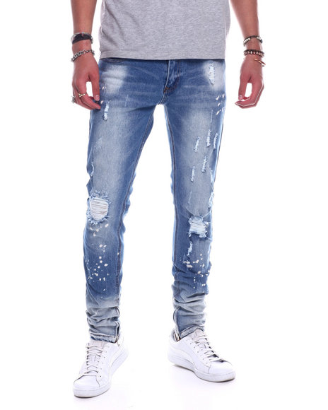 Copper Rivet - Bleached Hem Slim Fit Jean w Zipper Detail