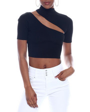 Women - Ribbed S/S Cut Out Front Crop Top-2326650
