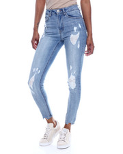 Women - Distressed 5 Pocket Skinny Jean W/ Shark Bite Hem-2326317