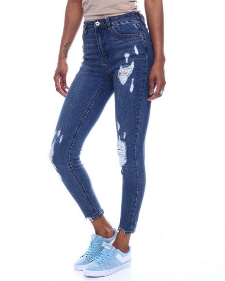 Fashion Lab - Distressed 5 Pocket Skinny Jean W/ Shark Bite Hem