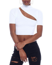 Fashion Lab - Ribbed S/S Cut Out Front Crop Top-2326654
