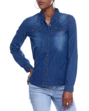 Fashion Lab - L/S Denim Roll Sleeve Button Down Shirt-2326353