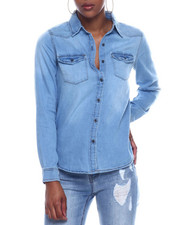 Fashion Lab - L/S Super Soft Denim Button Down Shirt-2326379