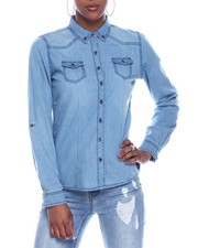 Fashion Lab - L/S Denim Roll Sleeve Button Down Shirt-2326374