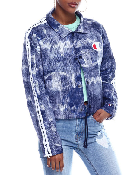 Champion - Zipper Tape Cropped Coaches Jacket