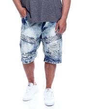 Big & Tall - Men's Washed Moto Rigid Denim Shorts (B&T)-2327562