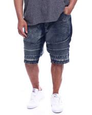 Big & Tall - Men's Washed Moto Rigid Denim Shorts (B&T)-2327558