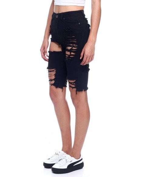 Fashion Lab - High Waist Heavy Ripped Bermuda Denim Short