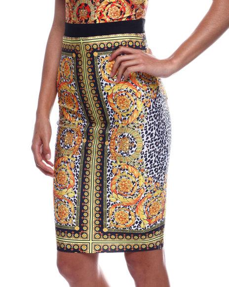 Fashion Lab - Multi Print High Waisted  Bandage Skirt