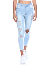 Jeans - High Waist Ripped Ankle Jean-2330005