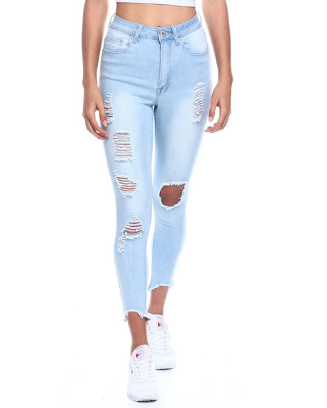 Fashion Lab - High Waist Ripped Ankle Jean