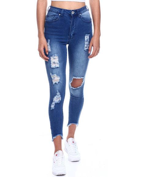 Fashion Lab - High Waist Ripped Ankle Jean