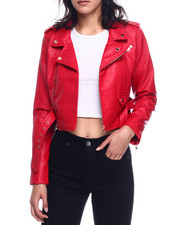 Outerwear - Faux Leather Belted Moto Jacket-2330059