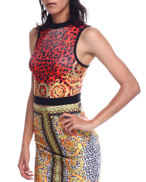 Fashion Lab - Multi Print Mock Neck S/L Bandage Crop