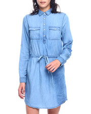 Dresses - Denim Cinched Drawstring Waist Roll Sleeve Dress-2330044