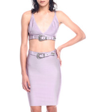 Women - Bandage S/L Crop Top/Mini Skirt Set-2330083