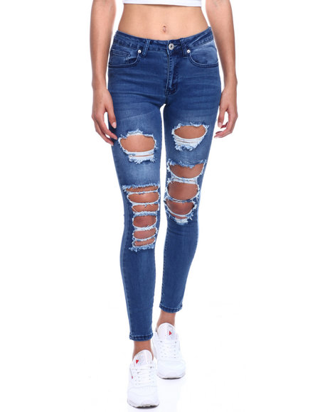 Fashion Lab - Mid Waist Ripped Skinny Jean