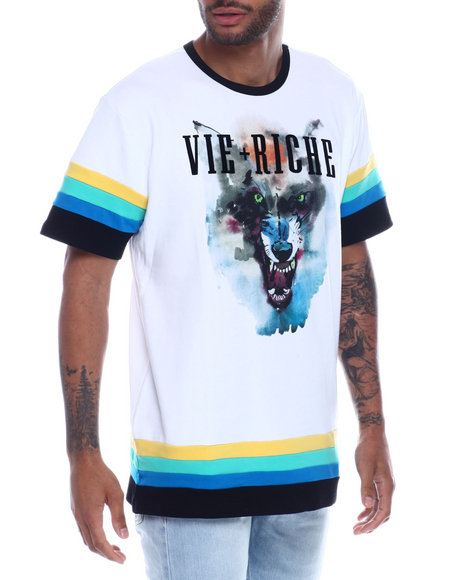 Vie + Riche - Watercolor Wolf Ringer Tee
