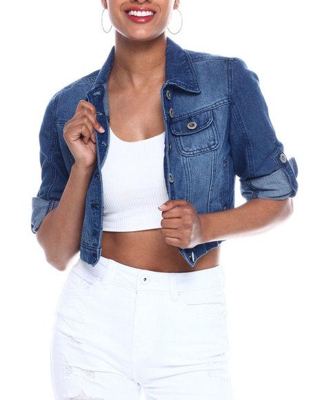 Fashion Lab - Crop Roll Sleeve Denim Jacket