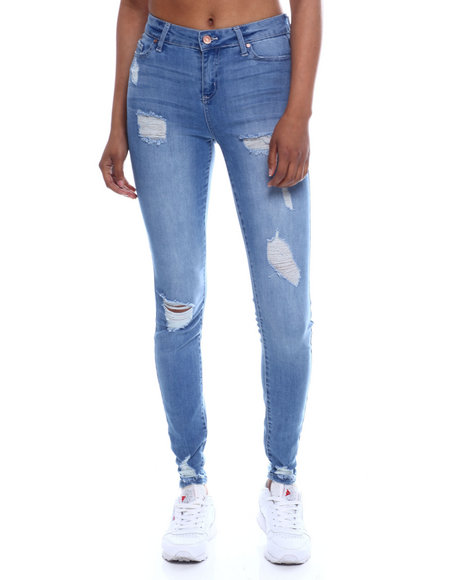 Fashion Lab - Distressed 5 Pocket Skinny Jean