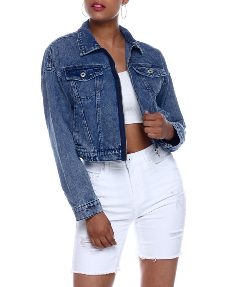Fashion Lab - Denim Crop Zip Front Jacket