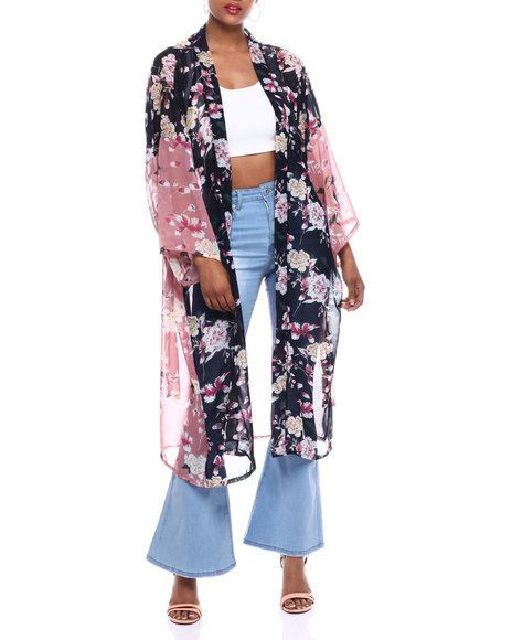 Fashion Lab - Color Block Floral Kimono