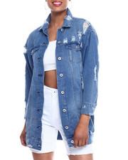 Fashion Lab - Destructed Long Denim Jacket-2333388
