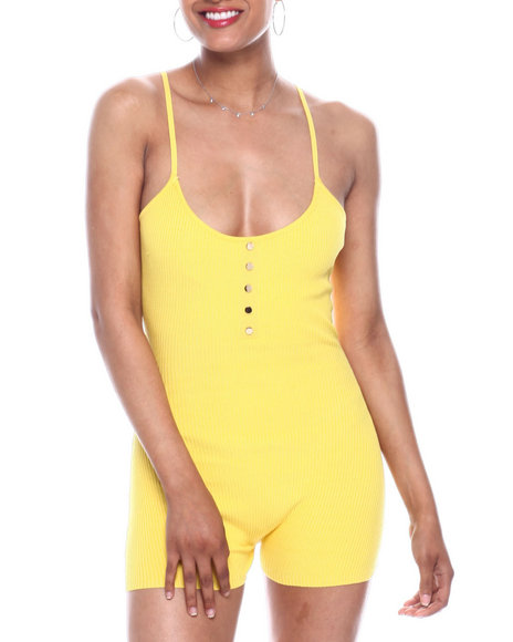 Fashion Lab - Ribbed tank button front romper