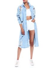Fashion Lab - Oversized Long Shredded Button Down Denim Top-2333452