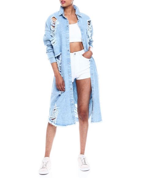 Fashion Lab - Oversized Long Shredded Button Down Denim Top