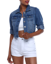Outerwear - Crop Roll Sleeve Denim Jacket-2333377