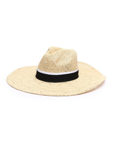 Fashion Lab - Open Weave Wide Brim Panama Hat