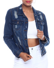 Outerwear - Destructed Denim Trucker Jacket-2333416