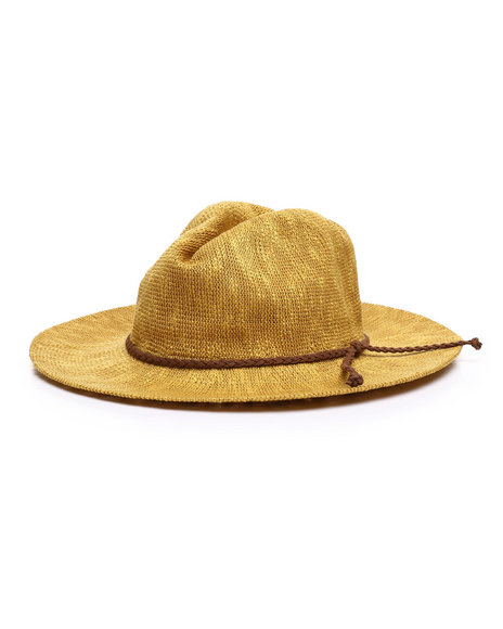 Fashion Lab - Brown Rope Trim Woven Hat