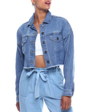 Outerwear - Oversized Crop Frayed Hem Denim Jacket-2333400