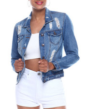 Outerwear - Destructed Denim Trucker Jacket-2333439