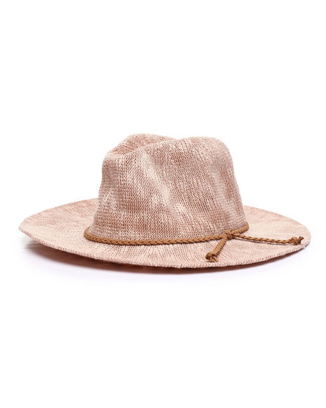 Fashion Lab - Brown Rope Trim Woven Hat