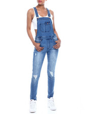 Celebrity Pink - Roll Cuff Side Zip Closure 5 Pocket Denim Overall-2333288