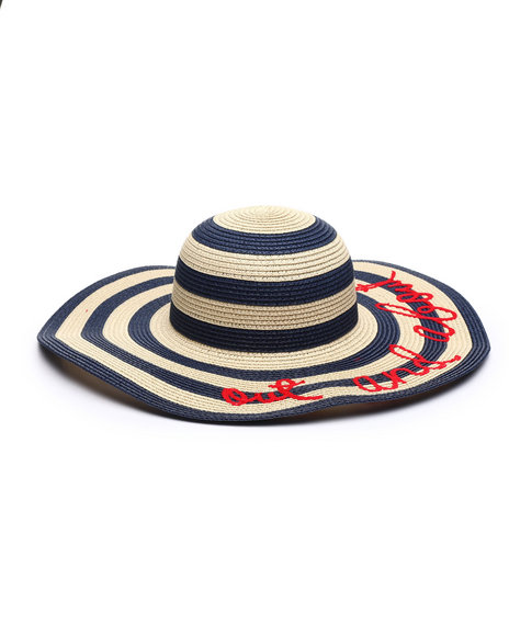Fashion Lab - Out & About Piped Straw Hat