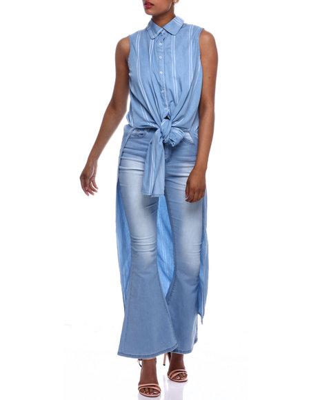 Fashion Lab - S/L Strip Hi Lo Tie Front Button Down