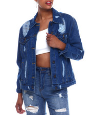 Women - Oversized Shredded Denim Jacket-2333362