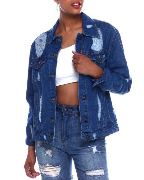 Fashion Lab - Oversized Shredded Denim Jacket