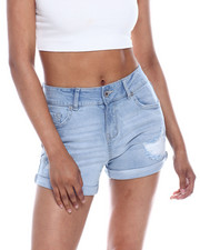 Women - Destructed Roll Cuff Denim Short-2333421