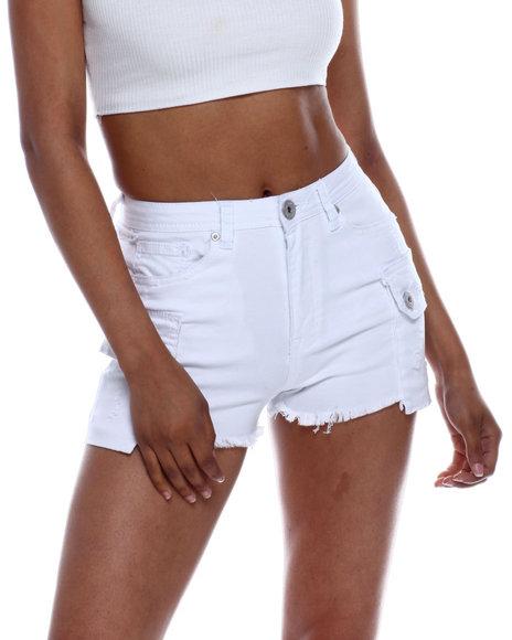 Fashion Lab - High Wasted Denim Shorts w/ Cargo PKTS