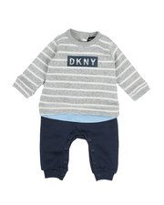 One Pieces - DKNY Stripe Coverall (Infant)-2329050