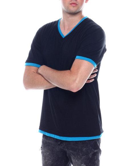 Buyers Picks - S/S Mens Contrast V-Neck Black Body T-shirt