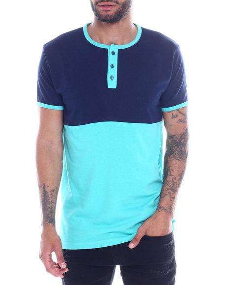 Buyers Picks - Mens Color Block Henley Shirt